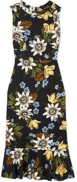 Erdem Grazia Floral-print Stretch-ponte Dress - Black