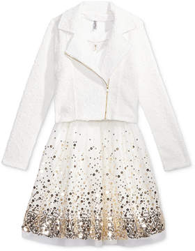 Beautees 2-Pc. Moto Jacket & Belted Dress Set with Necklace, Big Girls (7-16)