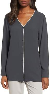 Eileen Fisher Piped Silk Blouse
