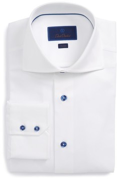 David Donahue Men's Trim Fit Diamond Weave Dress Shirt