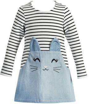 Youngland Baby Girl Kitty Cat Striped Dress