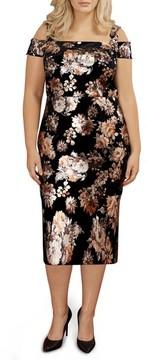 ECI Plus Size Women's Cold Shoulder Foil Print Velvet Midi Dress