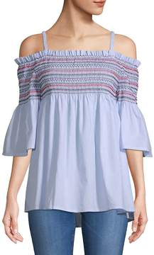 Chelsea & Theodore Women's Cold-Shoulder Smocked Cotton Top