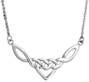 Celtic Bling Jewelry Knot Heart Pendant Sterling Silver Necklace 18 Inches.