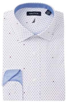 Nautica Dark Blue Print Classic Fit Dress Shirt