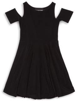 Un Deux Trois Girl's Solid Cold-Shoulder Dress