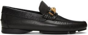 Versace Black Lizard-Embossed Medusa Loafers