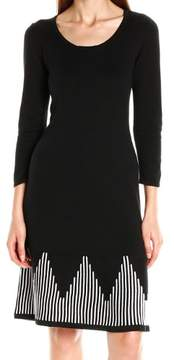 Nine West Women's Geometric Pattern Hem Sweater Dress