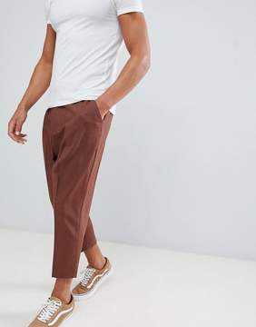 Asos Drop Crotch Tapered Smart Pants In Rust Wool Mix