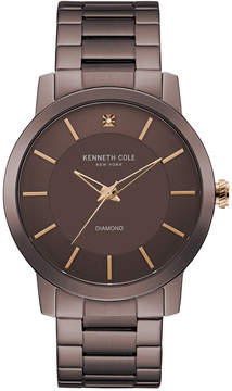 Kenneth Cole New York Men's Diamond Accent Brown Ion-Plated Stainless Steel Bracelet Watch 44mm KC9287