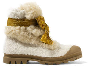 Chloé Parker Shearling Ankle Boots - Off-white