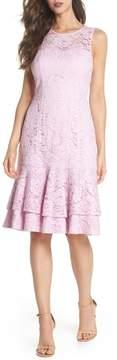 Eliza J Flounce Hem Lace Dress