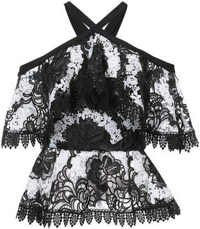 Christian Siriano off-the-shoulder lace top