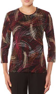 Allison Daley 3/4 Sleeve Printed Pucker Knit Top