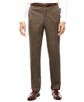 Blend of America STAFFORD Stafford Travel Wool Brown Sharkskin Flat-Front Pants-Classic Fit