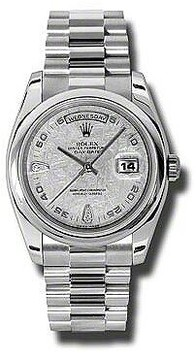 Rolex Day-Date Meteorite Dial Platinum President Automatic Ladies Watch