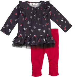 Petit Lem Floral-Printed Top and Pants Set, Black, Size 3-24 Months