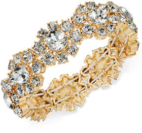 Charter Club Gold-Tone Crystal Flower Stretch Bracelet, Created for Macy's