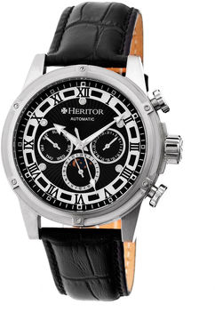 Heritor Automatic Kinser Mens Leather Day&Date-Silver/Black Watches