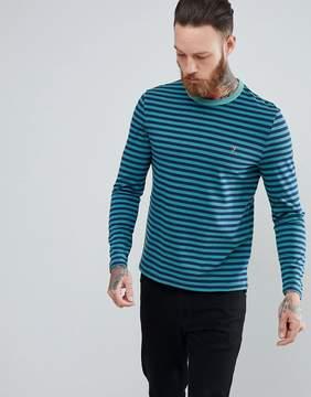 Farah Trafford Slim Fit Stripe Long Sleeve Top in Green