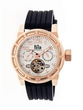 Reign Rothschild Rose Gold-tone Stainless Steel Case Black Semi-Skeleton Dial Men's Watch