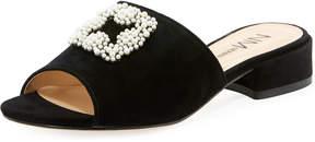 Neiman Marcus Casialla Pearlescent Slide Sandal, Black