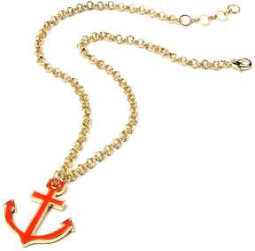 Amrita Singh Neon Orange Ellis Island Anchor Pendant Necklace