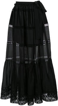Alberta Ferretti semi-sheer flared maxi skirt