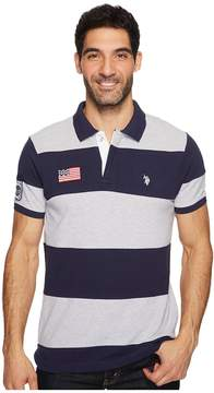 U.S. Polo Assn. Slim Fit Color Block Short Sleeve Pique Polo Shirt Men's Short Sleeve Pullover