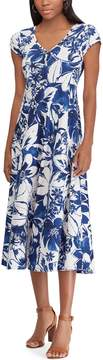 Chaps Petite Print Short Sleeve Jersey Dress