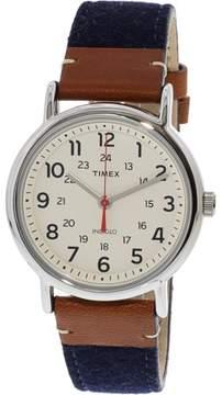 Timex Weekender 38 TW2R42000 Silver Leather Analog Quartz Fashion Watch