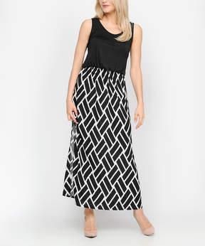 Celeste Black & White Geometric Side-Slit Sleeveless Dress - Women
