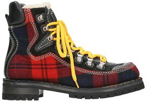 DSQUARED2 Tartan Mountain Red Wool Boots