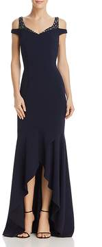 Adrianna Papell Embellished Cold-Shoulder Gown
