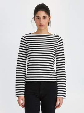 Frank and Oak Breton-Stripe Bell-Sleeve Cotton Top in Snow White
