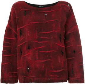 Avant Toi boat neck distressed sweater