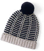 Lands' End Women's Nautical Stripe Beanie-Garnet