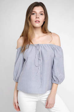 WAYF Flori Off Shoulder Seersucker Halter Blouse