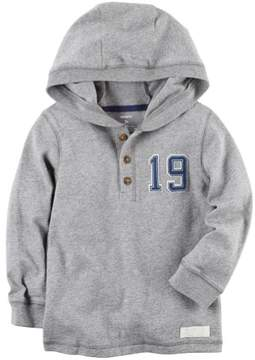 Carter's Baby Boys Knit Layering Hooded Henley Heather