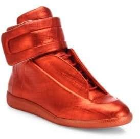 Maison Margiela Future Hi Saffiano Metallic Leather Sneakers