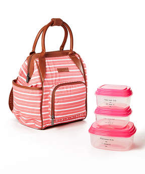 Fit & Fresh Pink Stripe Piper Three-Piece Insulated Backpack Set