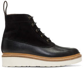 Grenson Black Spike Lace-Up Boots