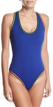 LaBlanca La Blanca Scoop-Neck Threaded Cross-Back One-Piece Swimsuit, Plus