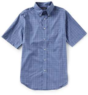 Roundtree & Yorke Short-Sleeve Spacedye Plaid Sportshirt