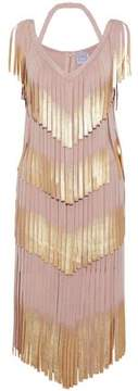 Herve Leger Fringed Metallic Bandage Dress