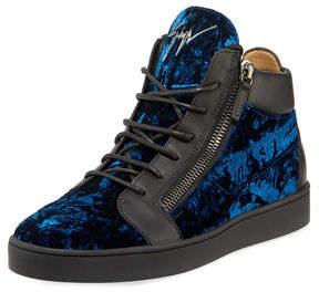 Giuseppe Zanotti Men's Velvet Mid-Top Sneakers