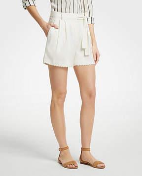 Ann Taylor Scalloped Trim Tie Waist Shorts