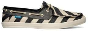 Vans Womens Chauffette Stripes Comfort Boat Shoes Black 5