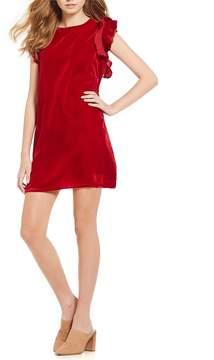 Chelsea & Violet Flutter Sleeve Velvet Dress