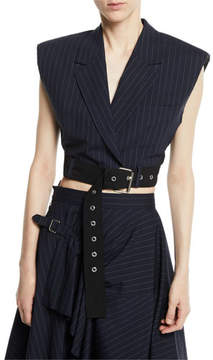 3.1 Phillip Lim Cropped Pinstripe Vest with Sculpted Shoulders & Belt
